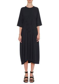 Jil Sander Round-Neck 3/4-Sleeve Cotton Midi Dress with Side Pintucking