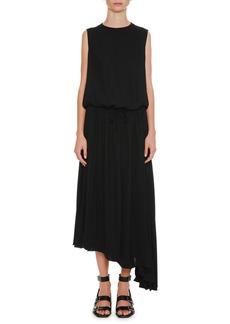 Jil Sander Round-Neck Blouson-Top Drawstring-Waist Crepe Dress