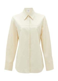 Jil Sander Rounded-hem cotton-blend shirt