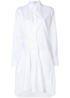 Jil Sander ruched front shirt dress - White