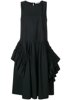 Jil Sander ruffle-trimmed midi dress - Black