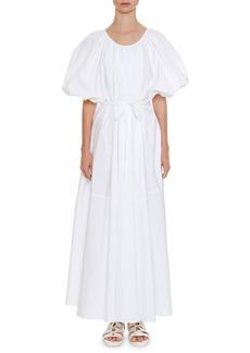 Jil Sander Scoop-Neck Puff-Sleeve Belted Full-Skirt Cotton Dress