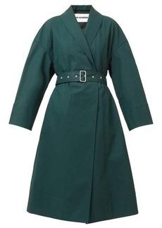 Jil Sander Shawl-lapel belted cotton-twill coat