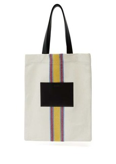 Jil Sander Striped canvas and leather tote bag