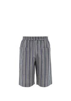 Jil Sander Striped cotton-blend canvas shorts