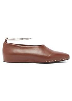 Jil Sander Studded almond-toe leather pumps