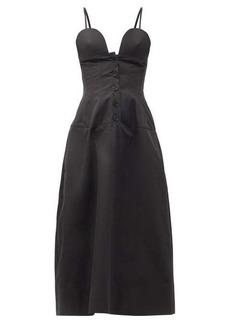 Jil Sander Sweetheart-neckline cotton-poplin midi dress