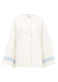 Jil Sander Tie-neck cotton wide-sleeve shirt
