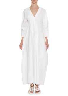 Jil Sander V-Neck Long-Sleeve Long Cotton Dress with Asymmetric Pleating
