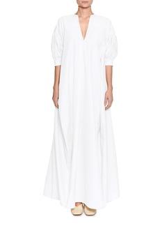 Jil Sander V-Neck Puff Elbow-Sleeve Cotton Poplin Dress