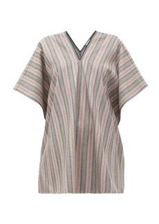 Jil Sander V-neck striped wool-blend tunic top