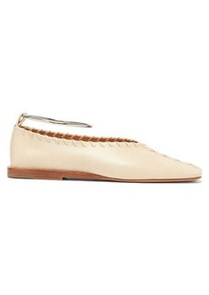 Jil Sander Whipstitched square-toe leather ballet flats