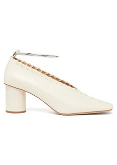 Jil Sander Whipstitched square-toe leather pumps
