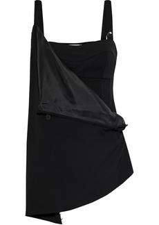Jil Sander Woman Asymmetric Button-detailed Draped Crepe Top Black