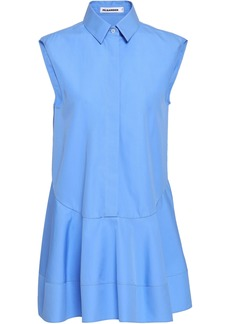 Jil Sander Woman Asymmetric Cotton-poplin Peplum Shirt Light Blue