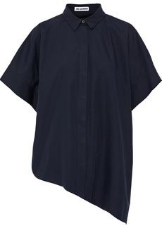 Jil Sander Woman Asymmetric Oversized Cotton-poplin Shirt Midnight Blue
