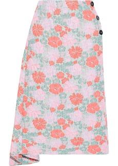 Jil Sander Woman Asymmetric Floral-jacquard Midi Skirt Grey Green