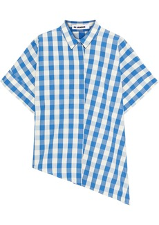 Jil Sander Woman Asymmetric Oversized Gingham Cottom Shirt Blue