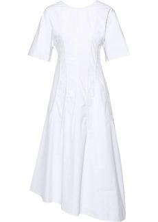Jil Sander Woman Asymmetric Pintucked Cotton-poplin Midi Dress White