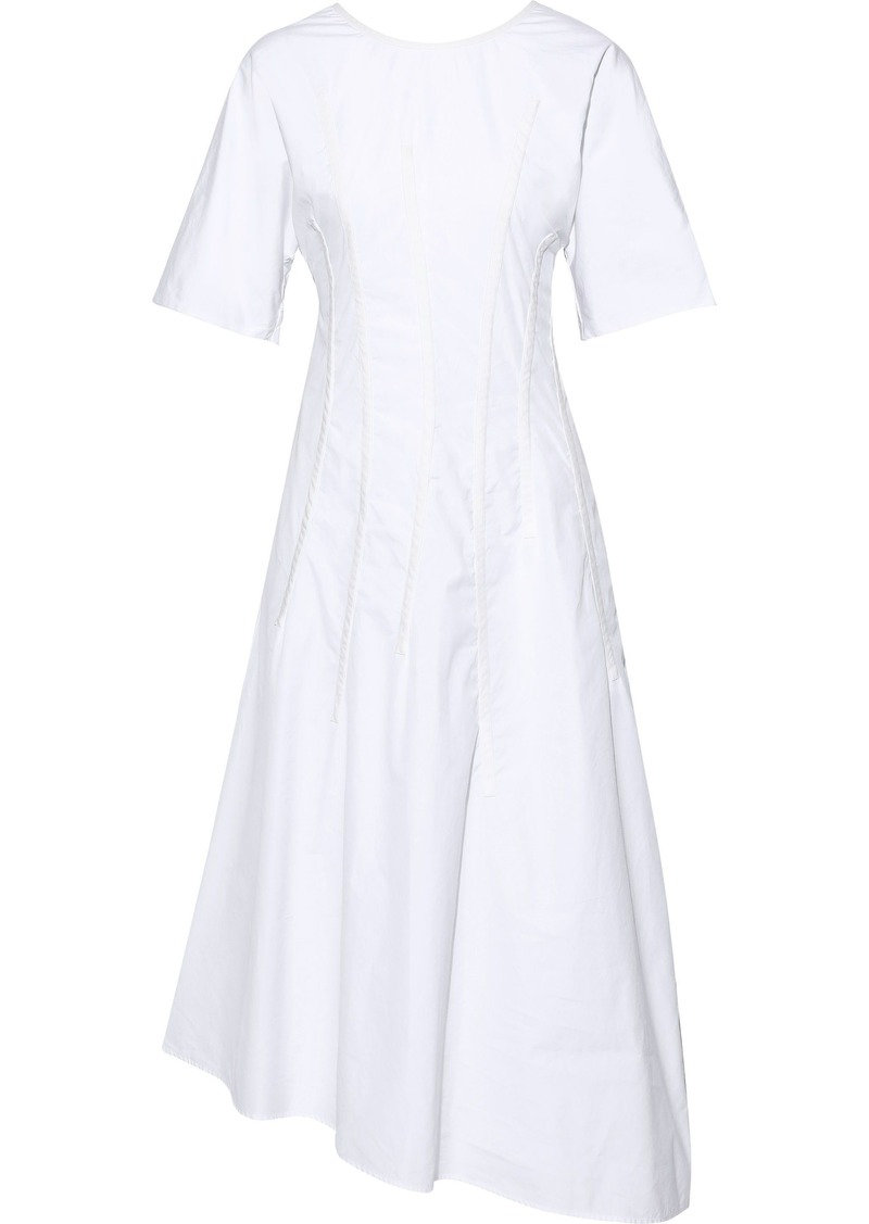 Jil Sander Woman Asymmetric Pintucked Cotton-poplin Midi Dress White