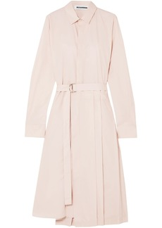 Jil Sander Woman Pleated Cotton-poplin Shirt Dress Pastel Pink