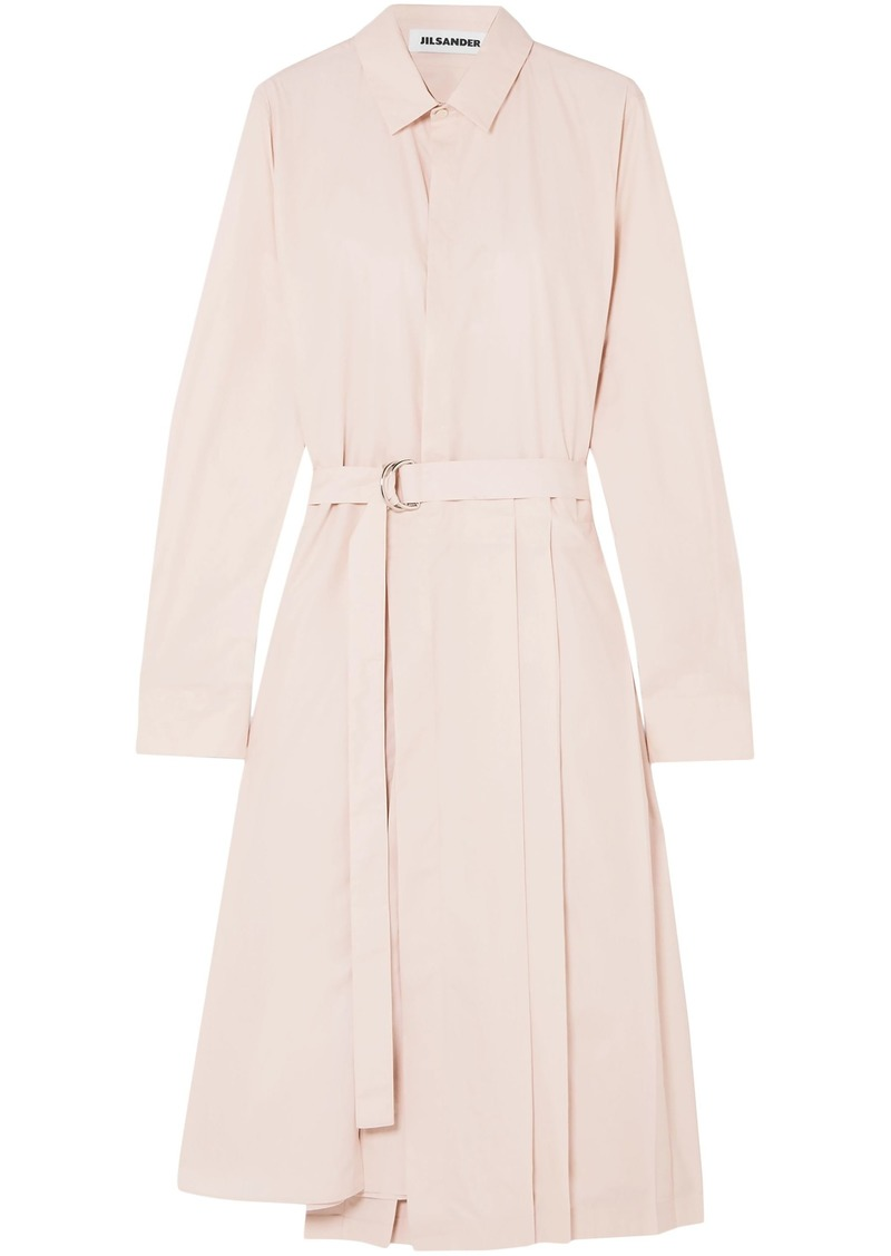 Jil Sander Woman Asymmetric Pleated Cotton-poplin Shirt Dress Pastel Pink