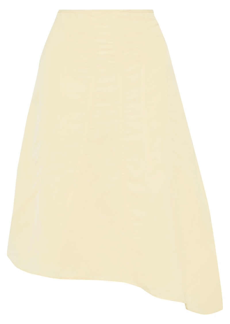 Jil Sander Woman Asymmetric Pleated Twill Skirt Cream