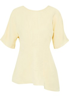 Jil Sander Woman Asymmetric Pleated Twill Top Beige