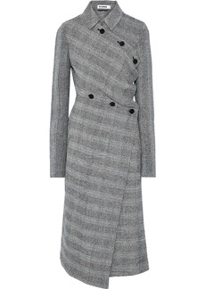Jil Sander Woman Asymmetric Prince Of Wales Checked Wool-blend Tweed Coat Gray