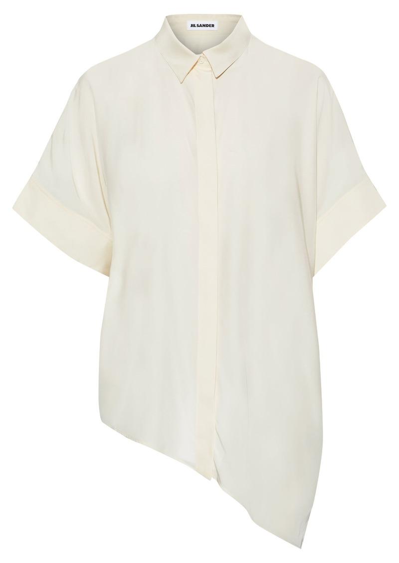 Jil Sander Woman Asymmetric Silk Crepe De Chine Shirt Off-white
