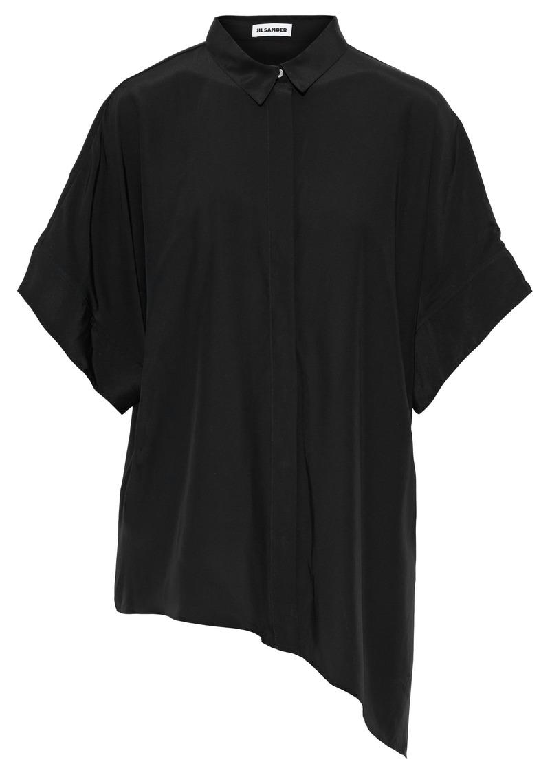 Jil Sander Woman Asymmetric Silk Crepe De Chine Shirt Black