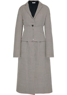 Jil Sander Woman Belted Checked Wool Coat Taupe