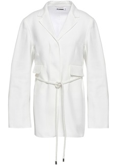 Jil Sander Woman Belted Cotton-twill Jacket White
