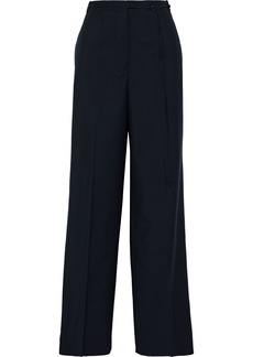 Jil Sander Woman Belted Wool And Mohair-blend Wide-leg Pants Midnight Blue