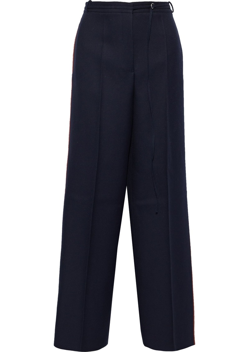 Jil Sander Woman Belted Wool-twill Wide-leg Pants Midnight Blue