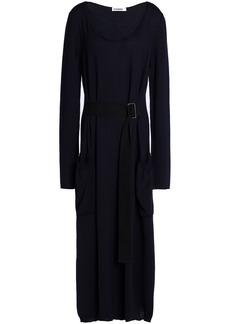 Jil Sander Woman Belted Wool Midi Dress Midnight Blue