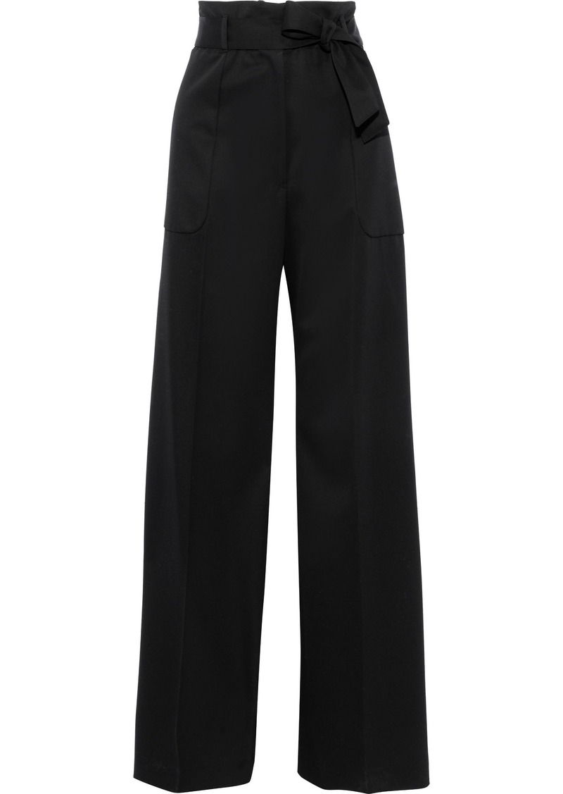Jil Sander Woman Belted Wool Wide-leg Pants Black