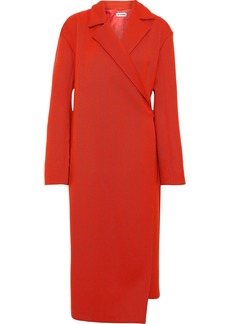 Jil Sander Woman Brushed Wool-blend Twill Wrap Coat Red