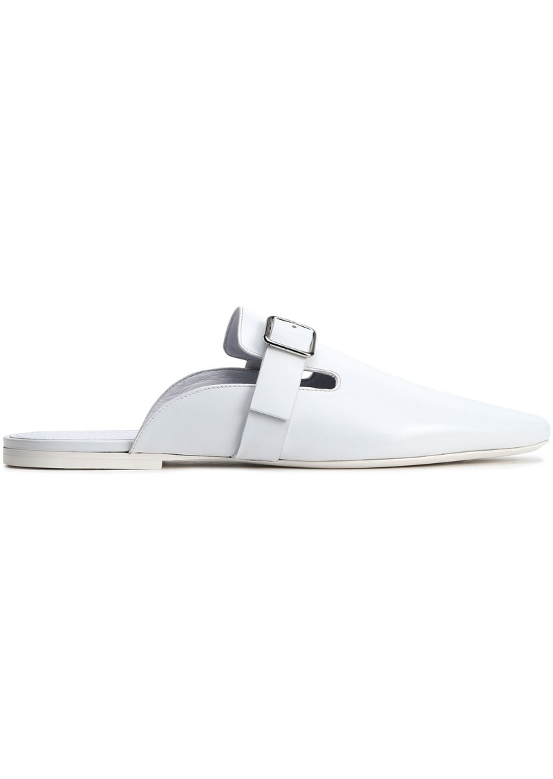 Jil Sander Woman Buckled Glossed-leather Slippers White