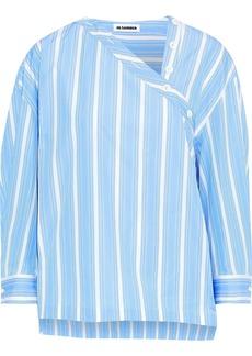 Jil Sander Woman Button-detailed Striped Cotton-poplin Blouse Light Blue