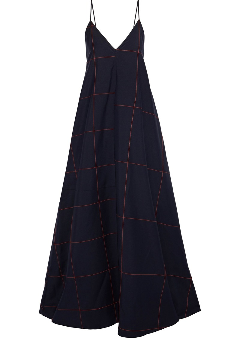 Jil Sander Woman Checked Wool And Mohair-blend Gown Midnight Blue