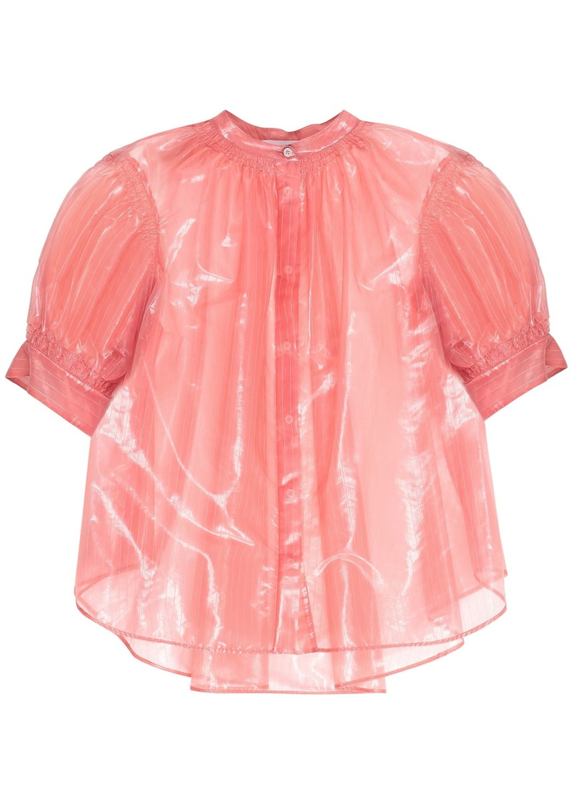 Jil Sander Woman Coated Striped Woven Blouse Coral
