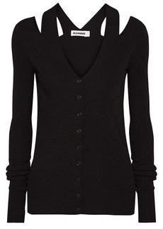 Jil Sander Woman Cold-shoulder Ribbed-knit Cardigan Black