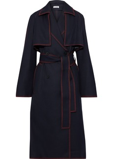 Jil Sander Woman Belted Wool-gabardine Trench Coat Midnight Blue