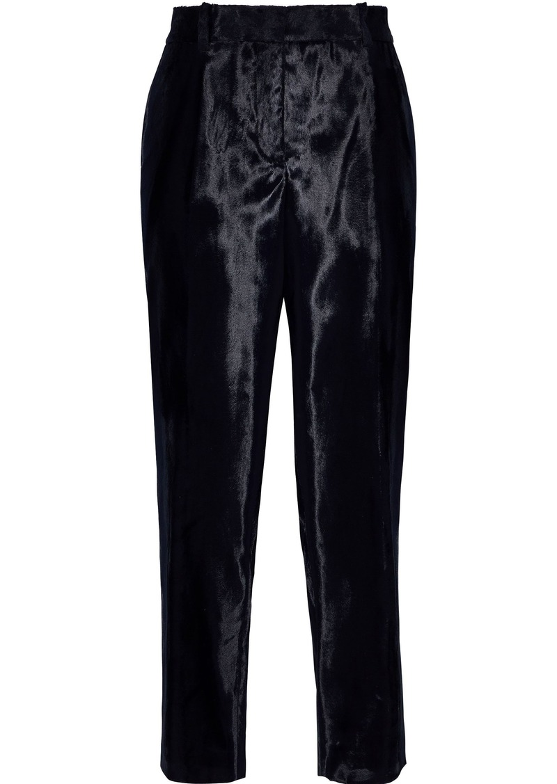 Jil Sander Woman Cropped Faux Fur Tapered Pants Midnight Blue