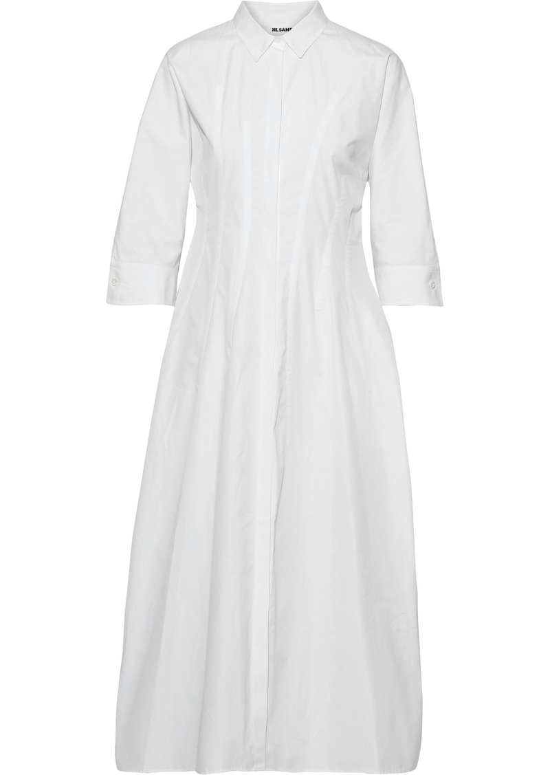 Jil Sander Woman Cotton-poplin Midi Shirt Dress White
