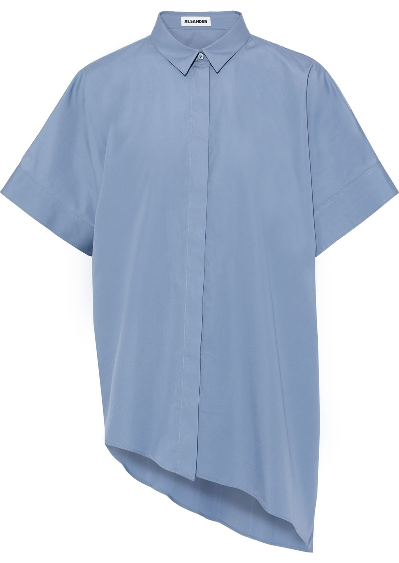 Jil Sander Woman Asymmetric Oversized Cotton-poplin Shirt Azure