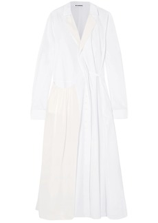 Jil Sander Woman Crepe De Chine-paneled Cotton-poplin Coat White