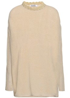 Jil Sander Woman Crochet-trimmed Cotton And Linen-blend Top Beige