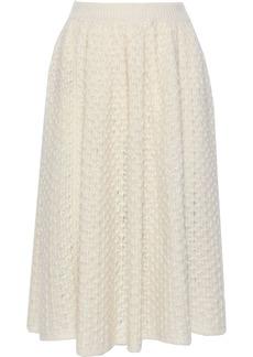 Jil Sander Woman Crocheted Mohair And Silk-blend Midi Skirt Ecru